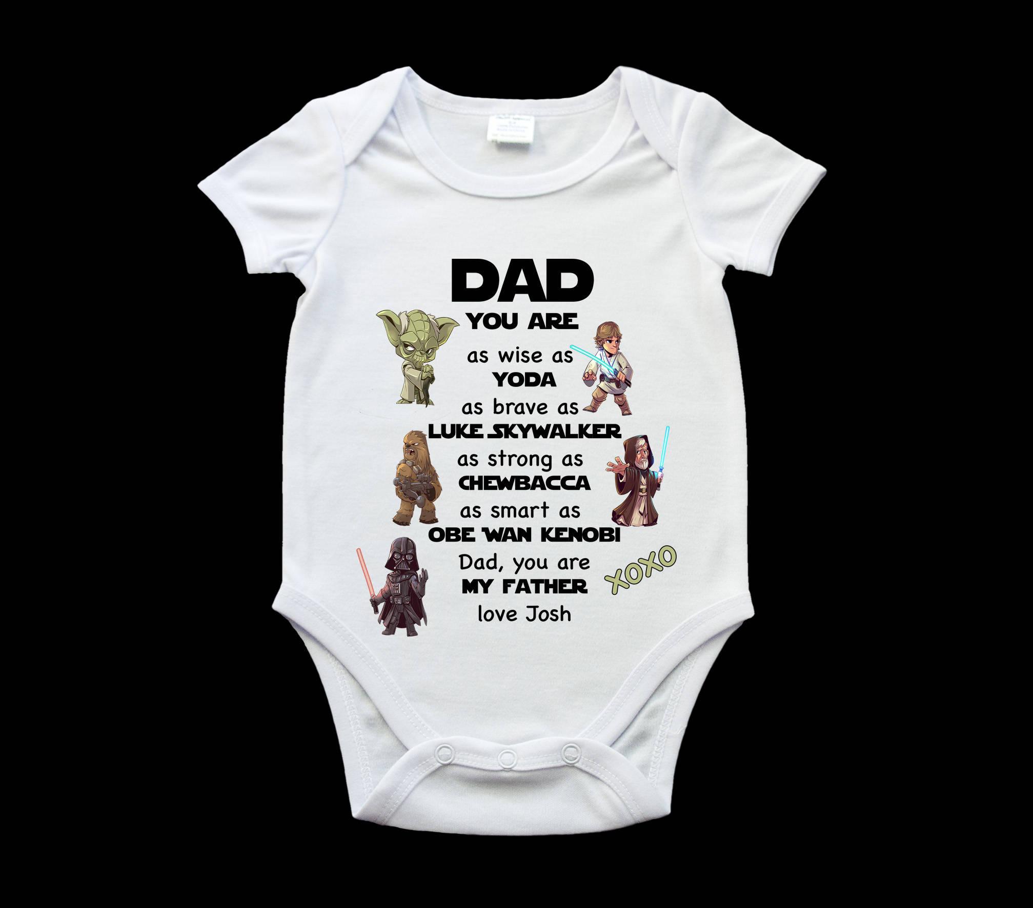 Funny Dad Star Wars Baby Onesie Romper Suit Personalised