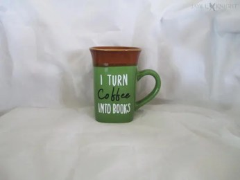 I turn coffee into books mug