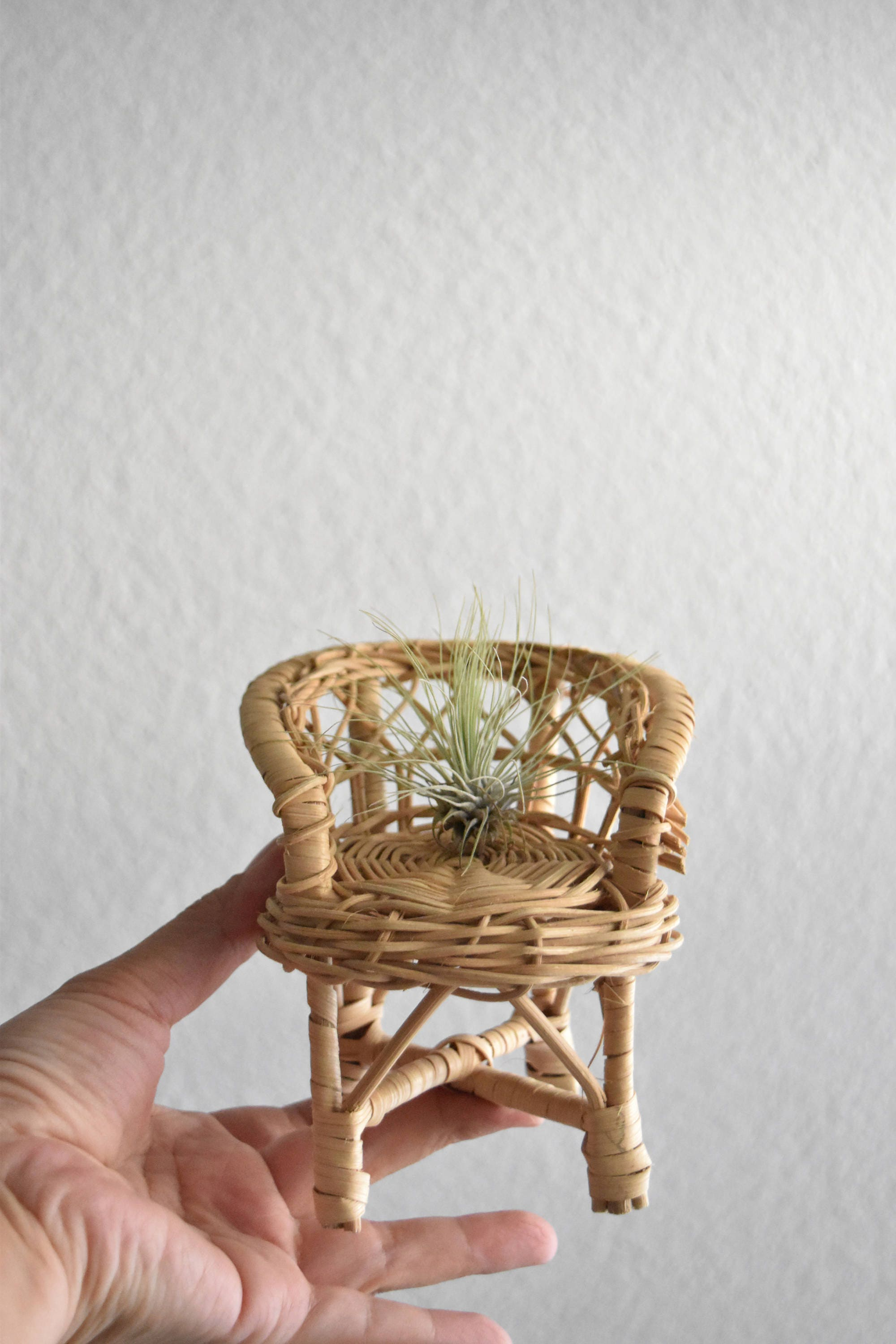 chair planter stand mickey high small mini woven wicker rattan doll plant