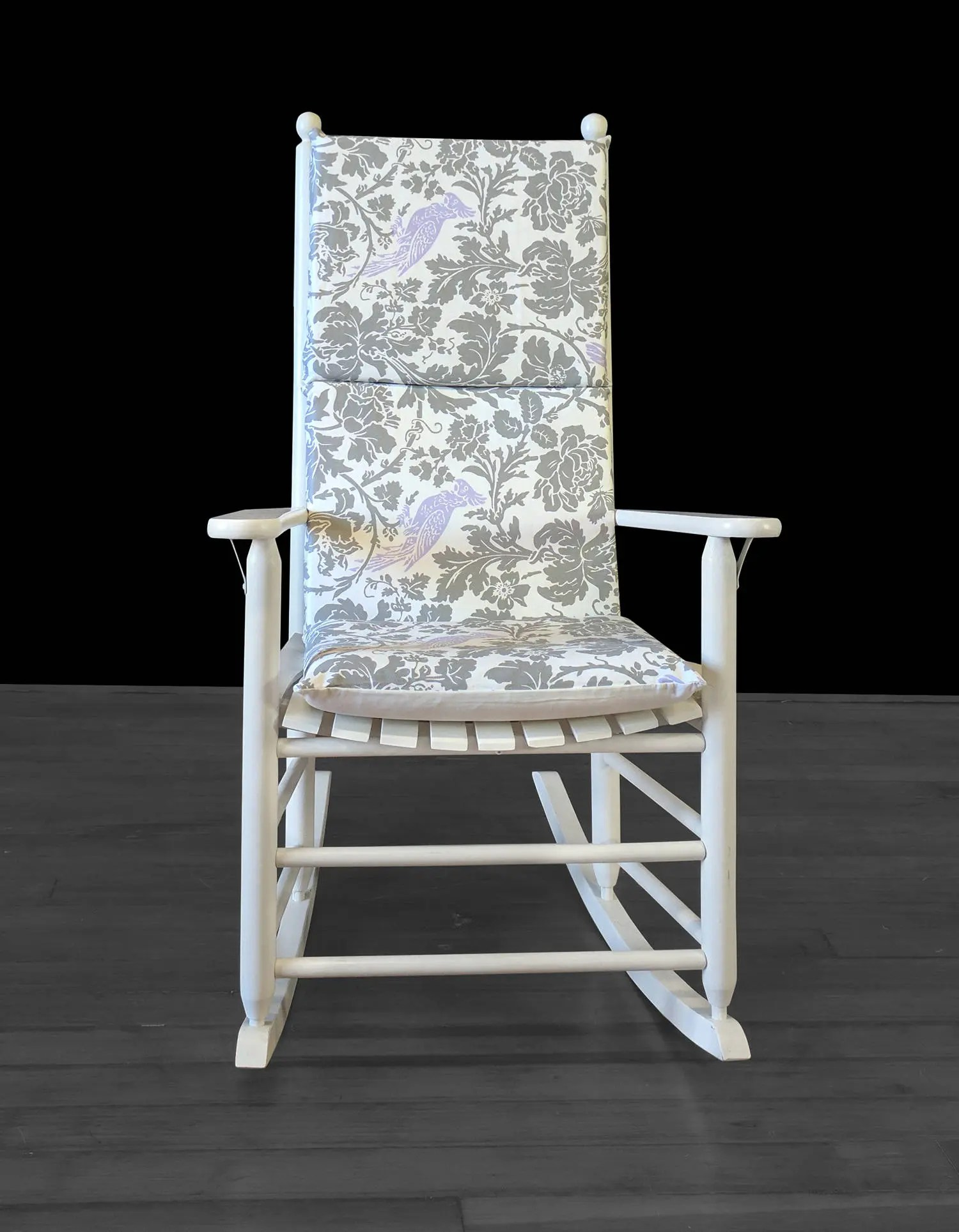Grey Rocking Chair Grey Pattern Lilac Floral Bird Rocking Chair Cushion