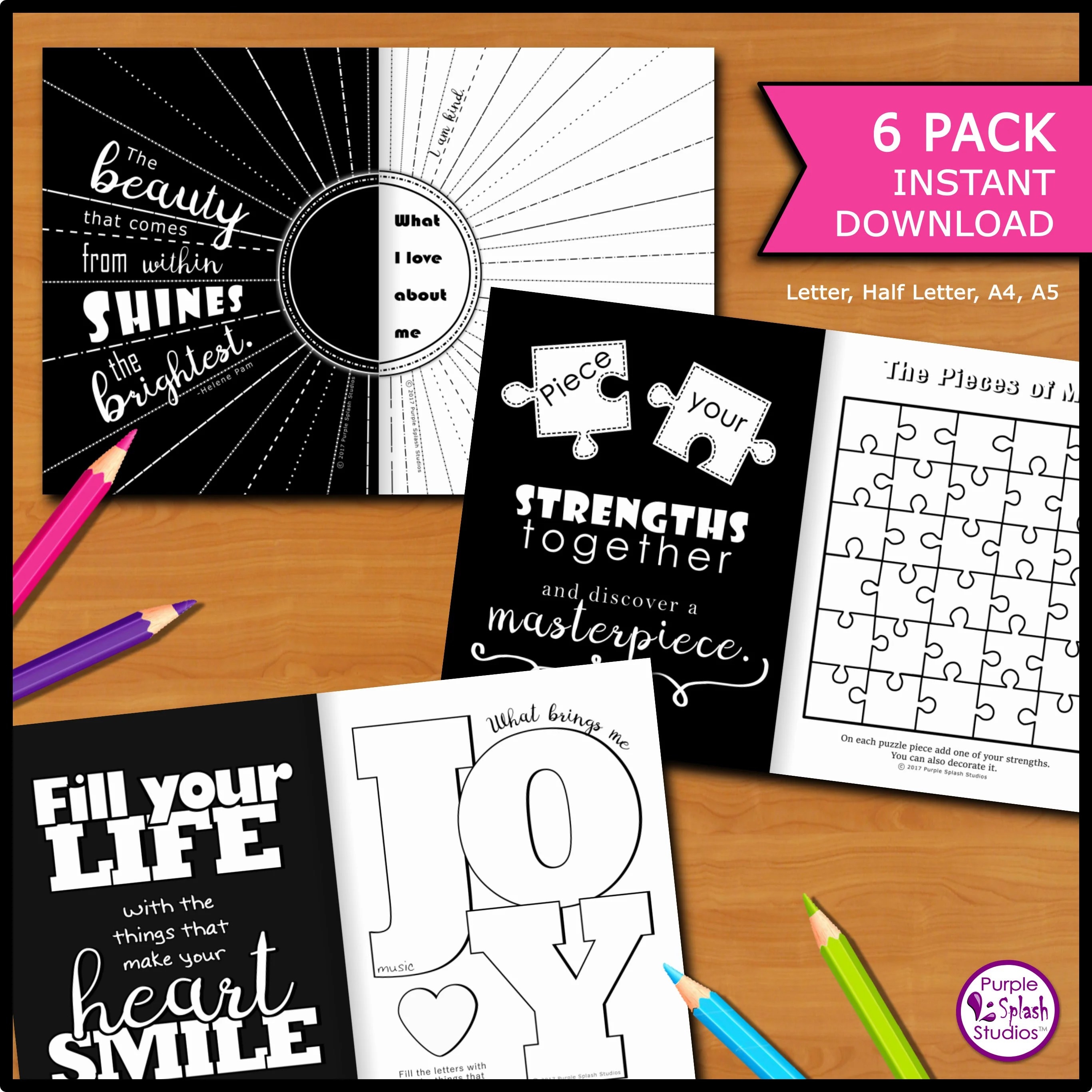 Self Discovery Printable Journal 6 Pack With Creative