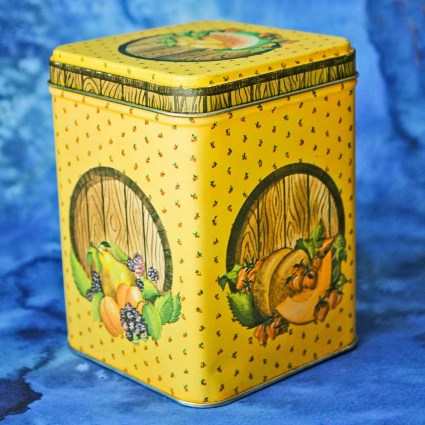 Vintage Tin or Canister: Rectangular Farmhouse Country Style with Wood Fruit Pattern by PIC- Princeton Industries Corporation