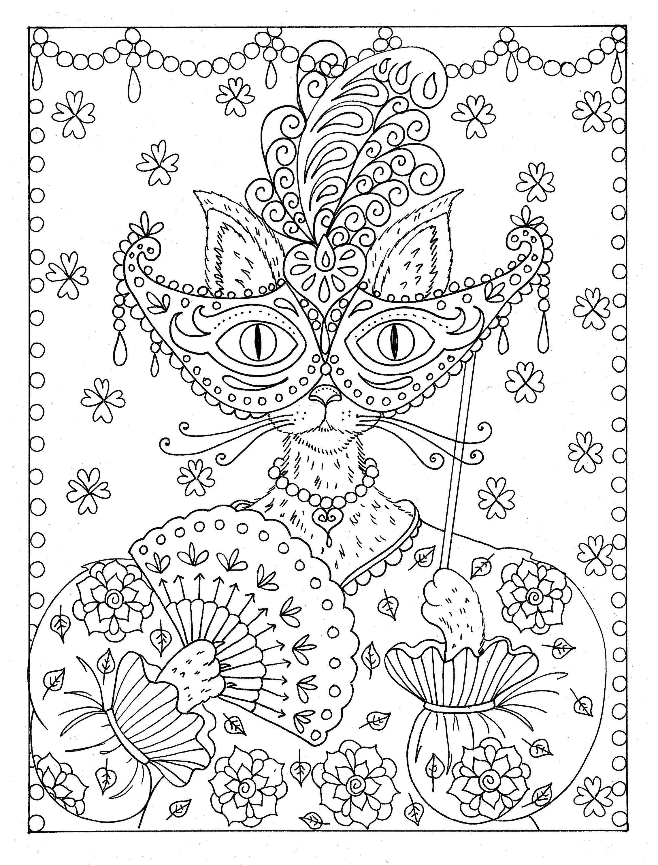 Fantasy Cat instant Download Coloring