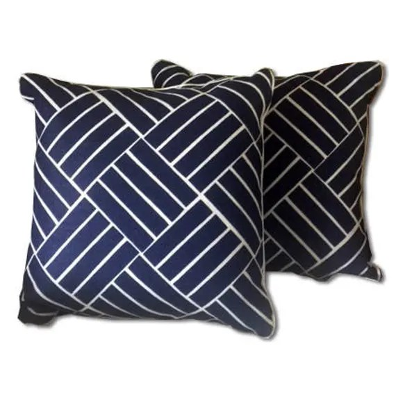Navy blue  and White linear geometric pillow covers with white welting