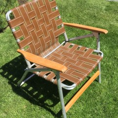 Aluminum Web Lawn Chairs Purple Side Chair Webbed With Wood Handles Clamping Camping