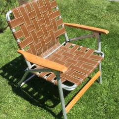 Aluminum Webbed Lawn Chairs Chair Self Defense With Wood Handles Clamping Camping