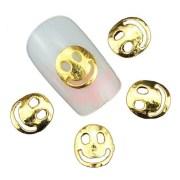 gold smiley face nail charm 2 pcs