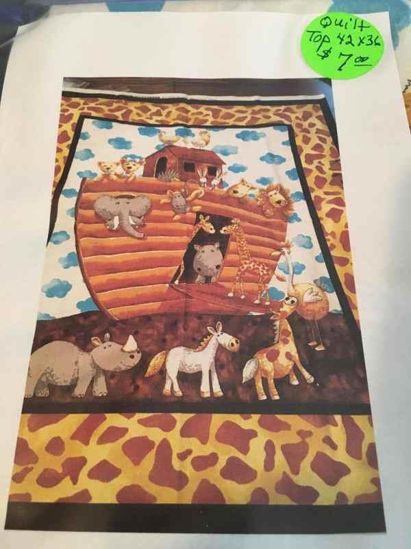 Noahs Ark Cotton Fabric Quilt Panel