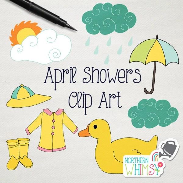 spring clip art april showers rain