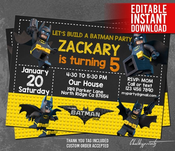 Custom Lego Batman Birthday Invitations