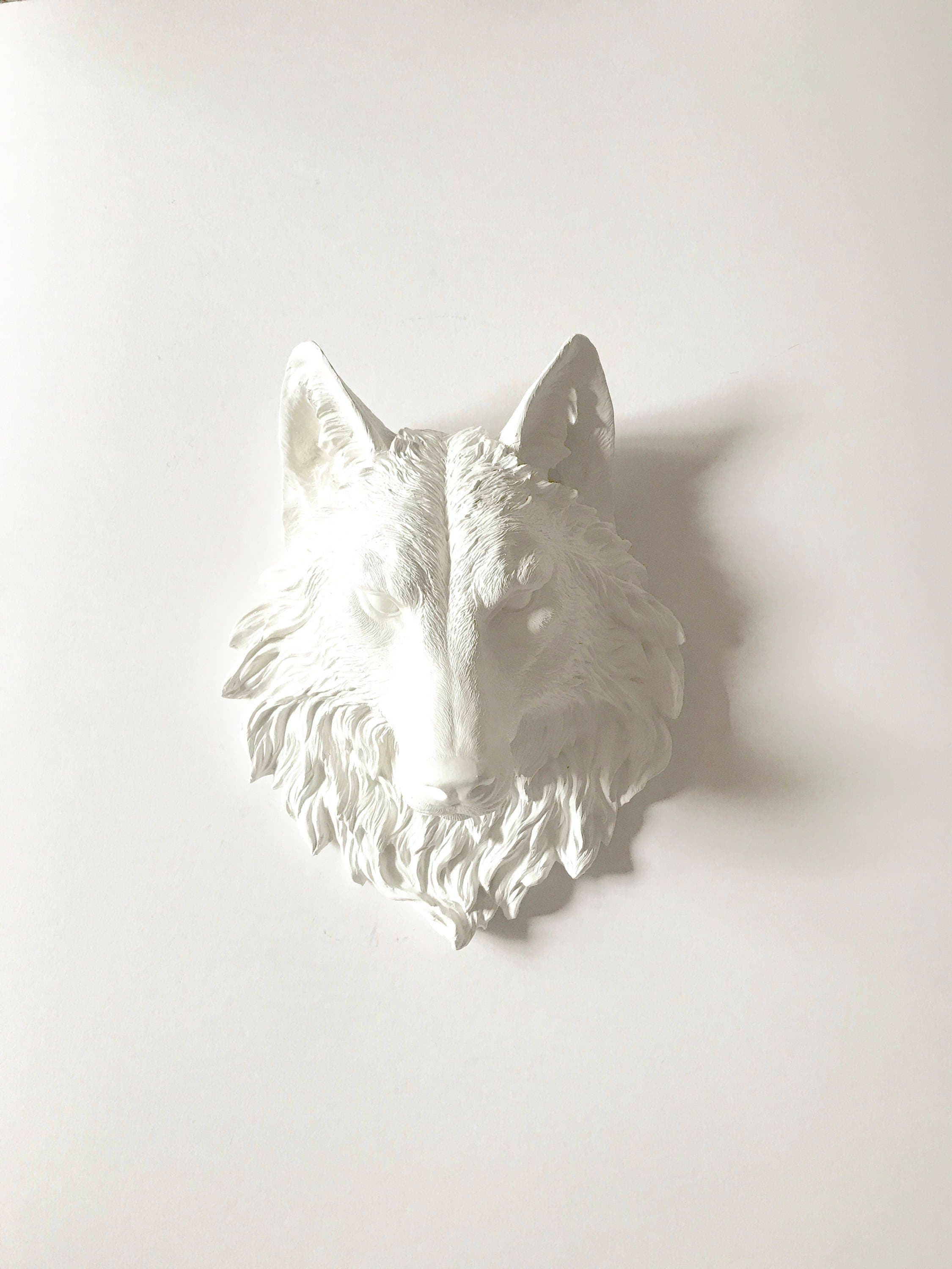 White Wolf Faux Taxidermy Large Wolf Head Wall Decor Wolf Wall