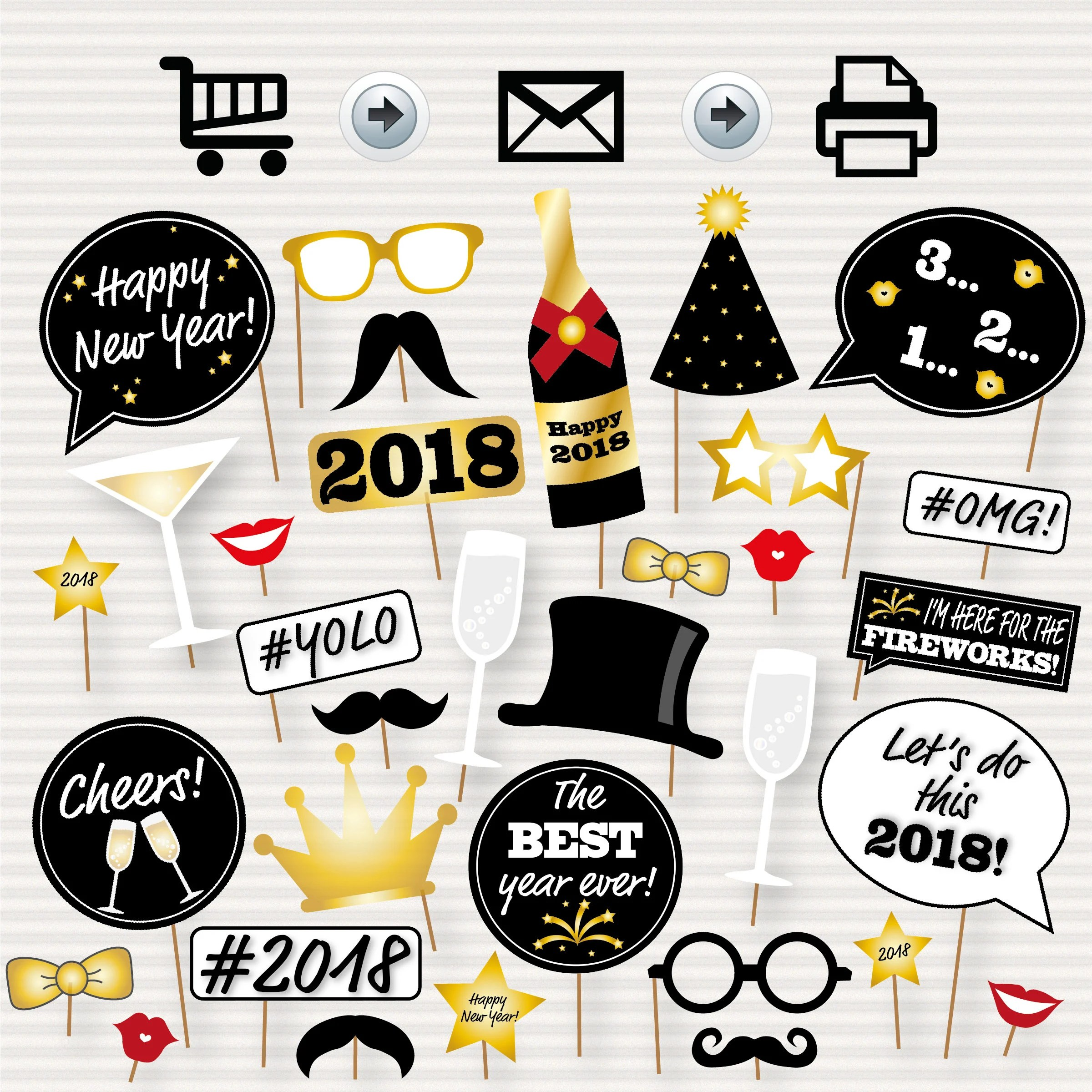 New Year Photo Booth Printable Props Party Props