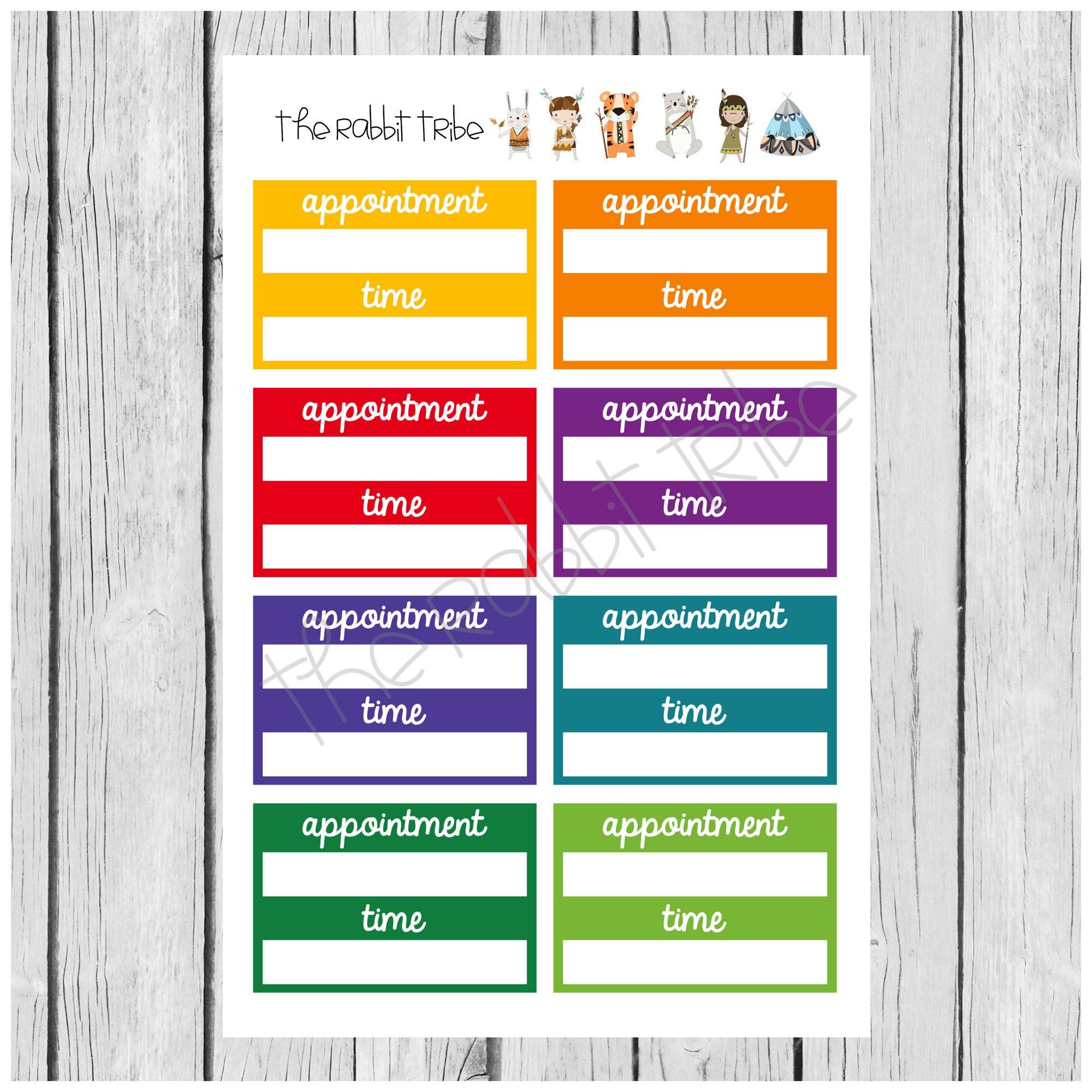 Mini Sticker Sheet Appointment And Time Boxes Colourful