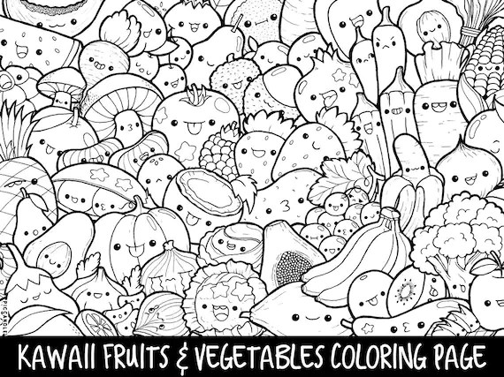 Fruits Amp Vegetables Doodle Coloring Page Printable