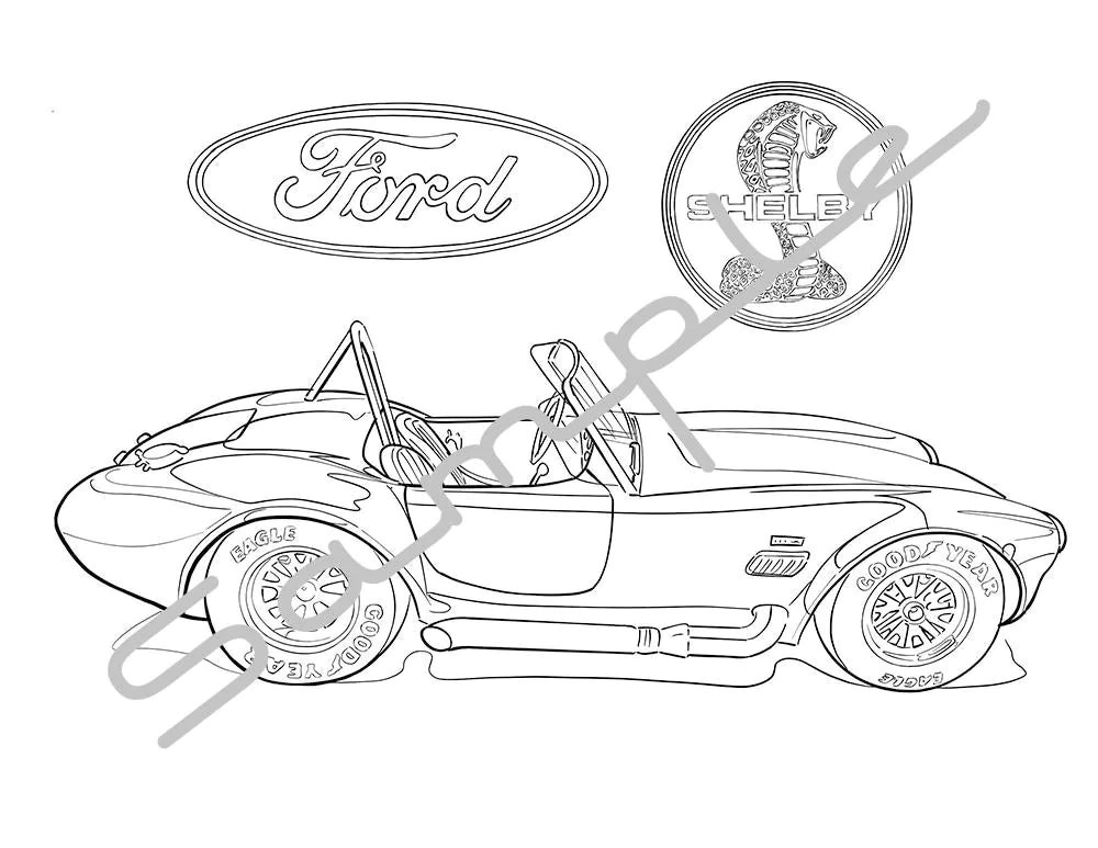 1965 FORD SHELBY COBRA Adult Coloring Page Printable