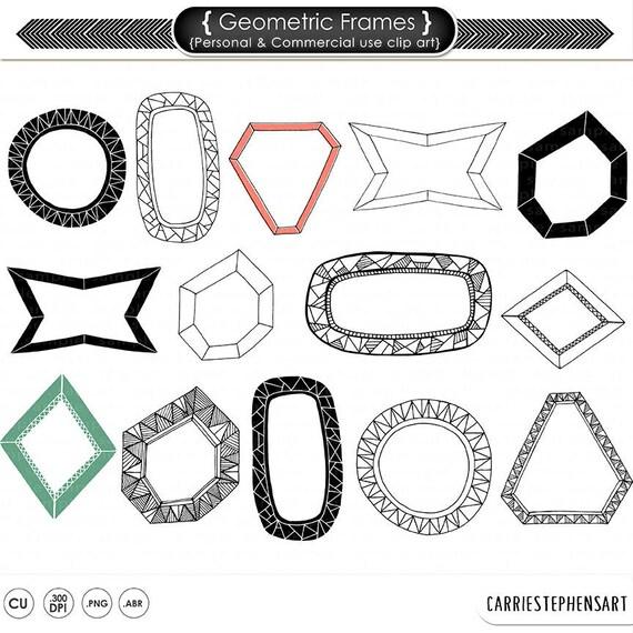 Geometric Digital Frame & Label ClipArt, Photoshop Brush