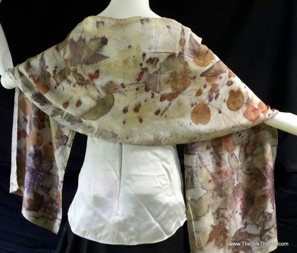 """EcoPrinted Silk Scarf, Silk Wrap, Shawl, Natural Colors of Leaves, Copper, Bronze, Green colors, By Artist, totally Organic Art, 14"""" x 72"""""""