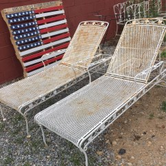 Iron Chaise Lounge Chairs Folding Fabric Vintage Pair Of With Wheels