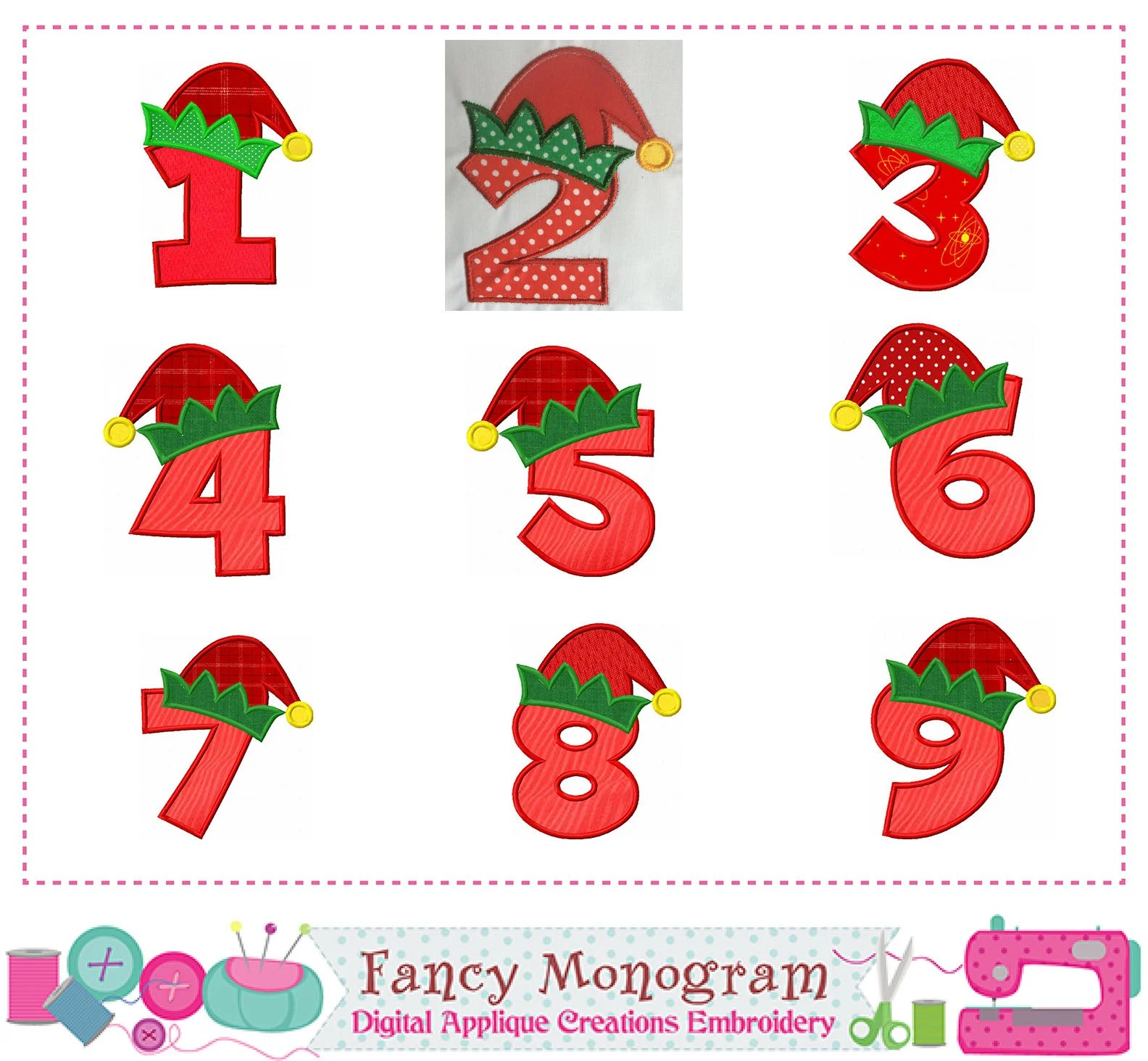 Elf Hat Numbers Applique Christmas Numbers Applique Elf