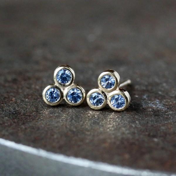 Blue Sapphire Stud Earrings Three Stone Studs Trinity