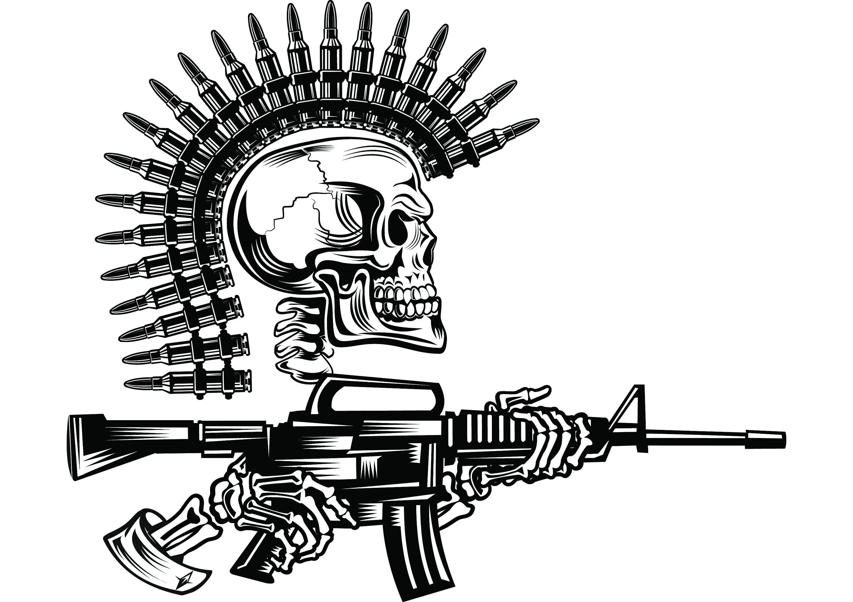 Military Skull #4 Bullet Mohawk Machine Gun Ammunition
