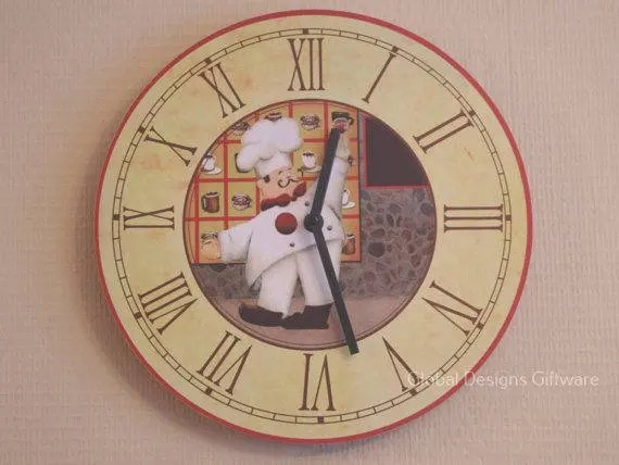 Kitchen Wall Clock Novelty Chef Design Clock Round 30CM