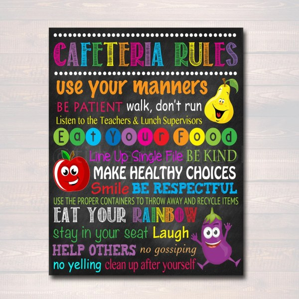School Cafeteria Rules Poster Printable Instant
