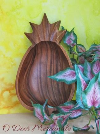 Monkey Pod Pineapple Bowl: Vintage Wooden Serving Bowl Perfect for Tiki Bar
