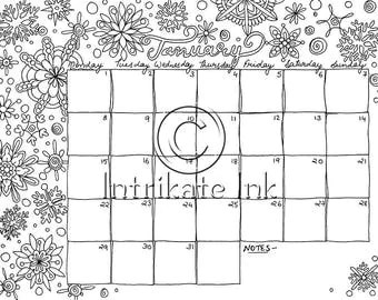 August 2017 Coloring Page Calender Planner Aug Doodle