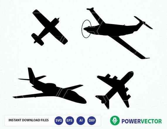 Airplane SVG files. Airplane silhouette dxf collection. Svg