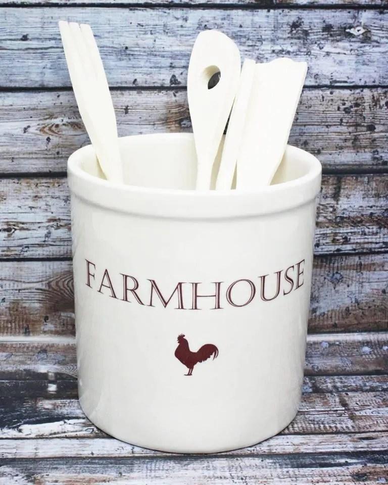 Farmhouse Utensil Holder Crock