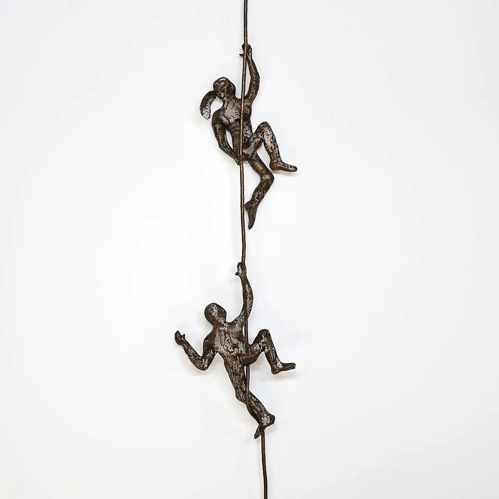 SET of 2 climbing figures on rope wall decor wall hanging