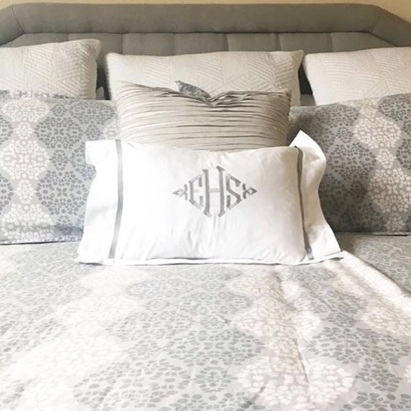 Monogram Boudoir Pillow Sham With Ribbon Trim