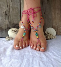 Pink Turquoise Beach Sea Turtle Barefoot Sandals Boho Wedding