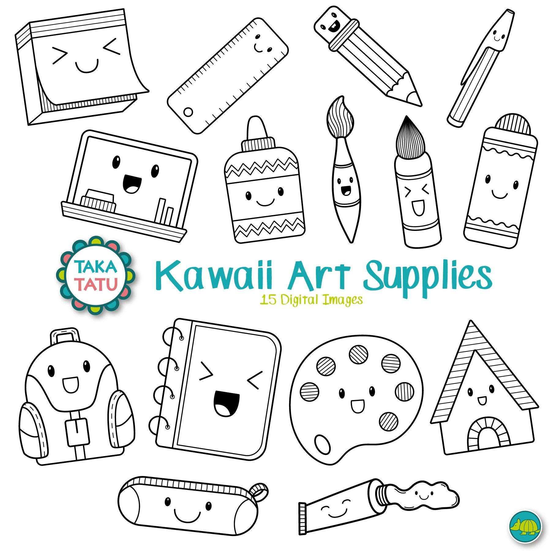 Kawaii Art Supplies Digital Stamp Art Supplies Clip Art