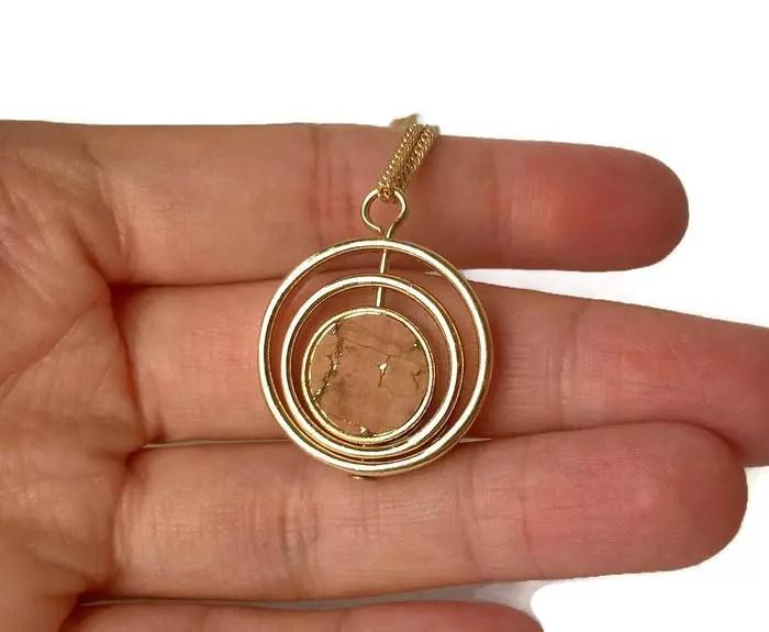 Round Gold Cork Necklace Portuguese Cork Portuguese Jewelry