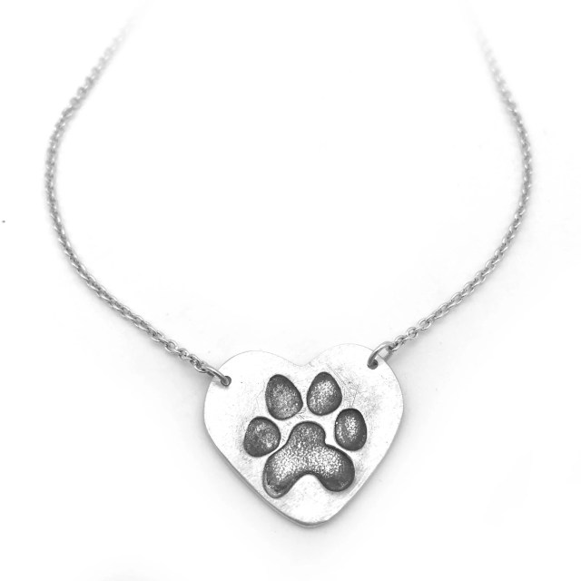 Dog Paw Necklace   Silver...