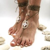 Genuine Stones & Hemp Barefoot Sandals Beach Wedding