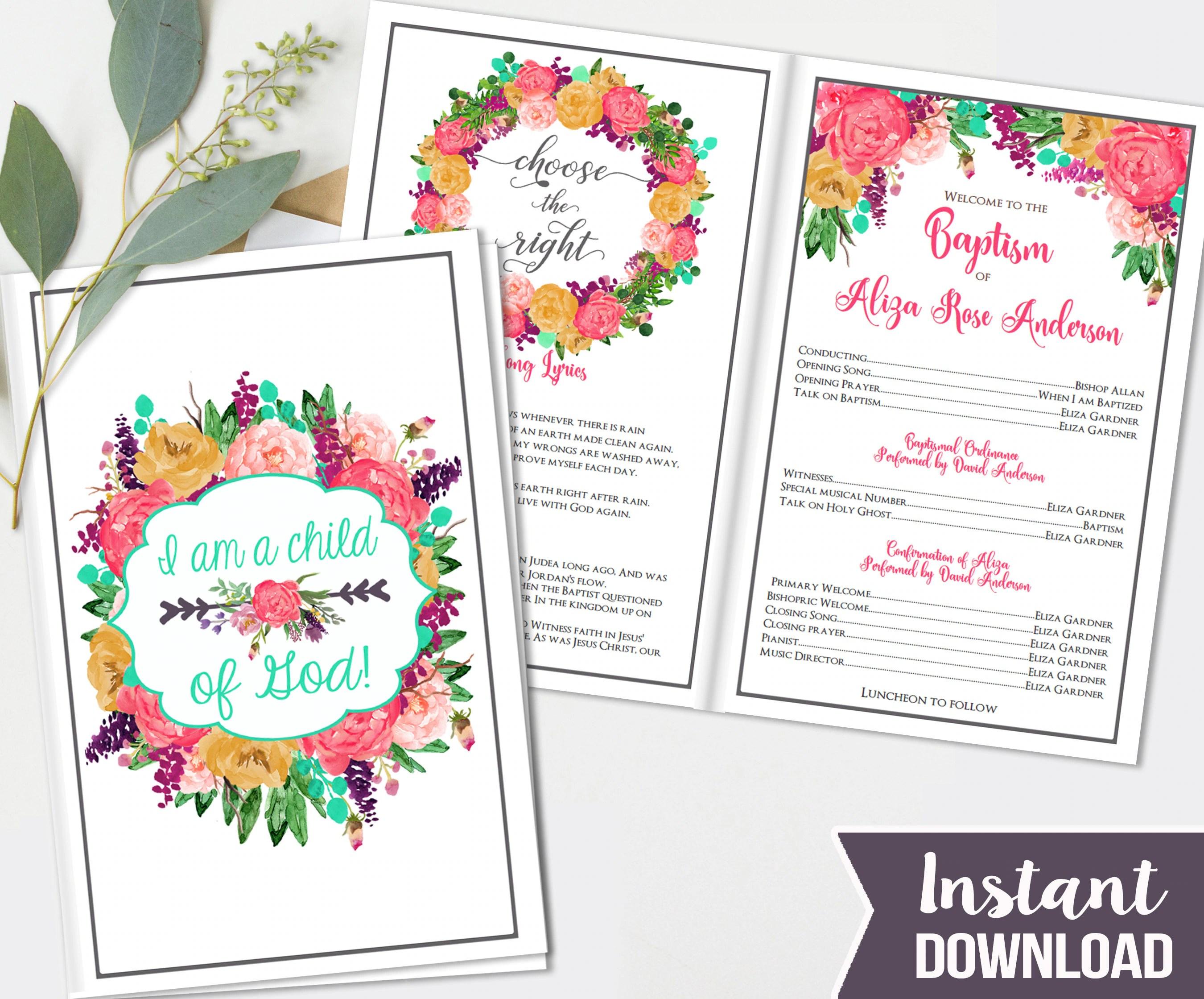 Girls Lds Baptism Program Fully Editable Printable Folded
