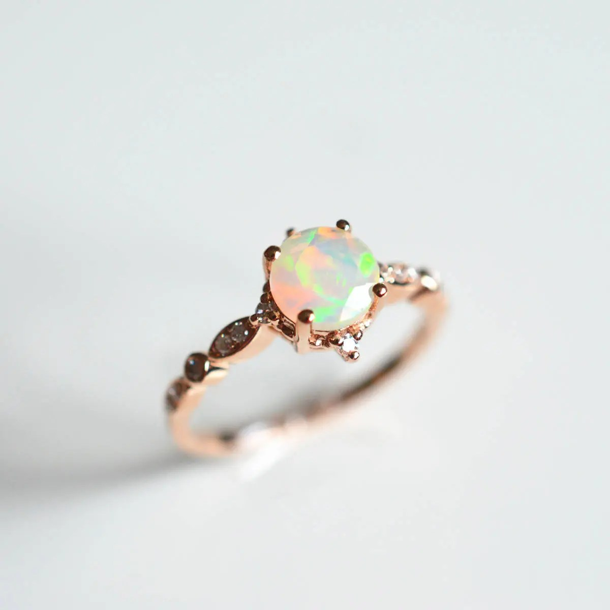 Opal Enagegement Ring 18k Rose Gold Opal Engagement Ring 14k