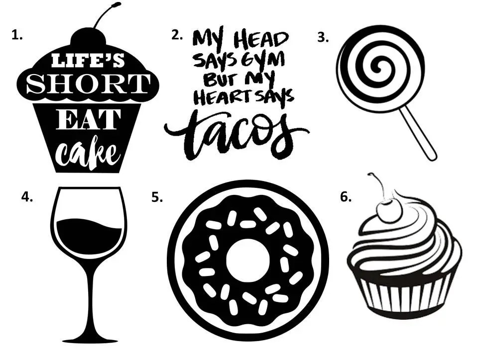Cupcake Decal Lollipop Decal Food Decal Wine Decal Donut Decal