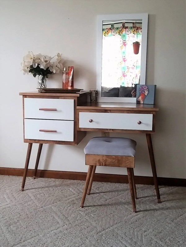 Mid Century Modern Makeup Vanity Table