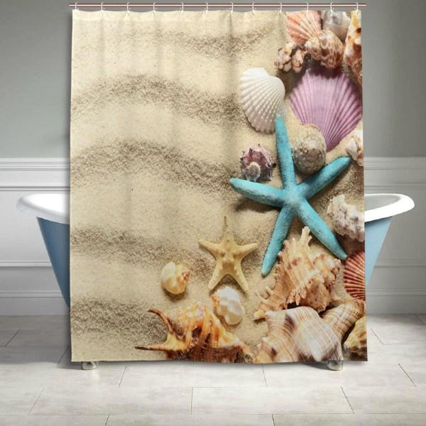 Starfish Seashell Beach Sand Shower Curtain Bathroom Decor