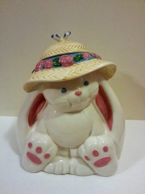 Ceramic Rabbit Cookie Jar Treasure Craft In Usa