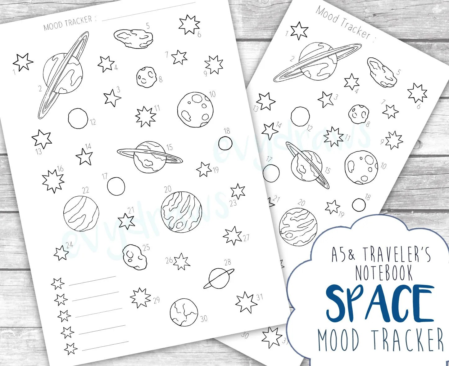 Planets & Space Weekly Planner Layout PRINTABLE Bullet