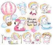 rainbow hair unicorn set 2 kawaii