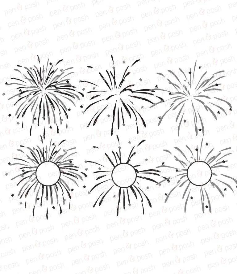 Fireworks SVG Fireworks Monogram SVG July 4th Cut Files