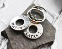 Player 1 Player 2 Game Keychains- Gamer Friends Couples  Matching Set- Stamped Aluminum Silver Keychain Key Ring