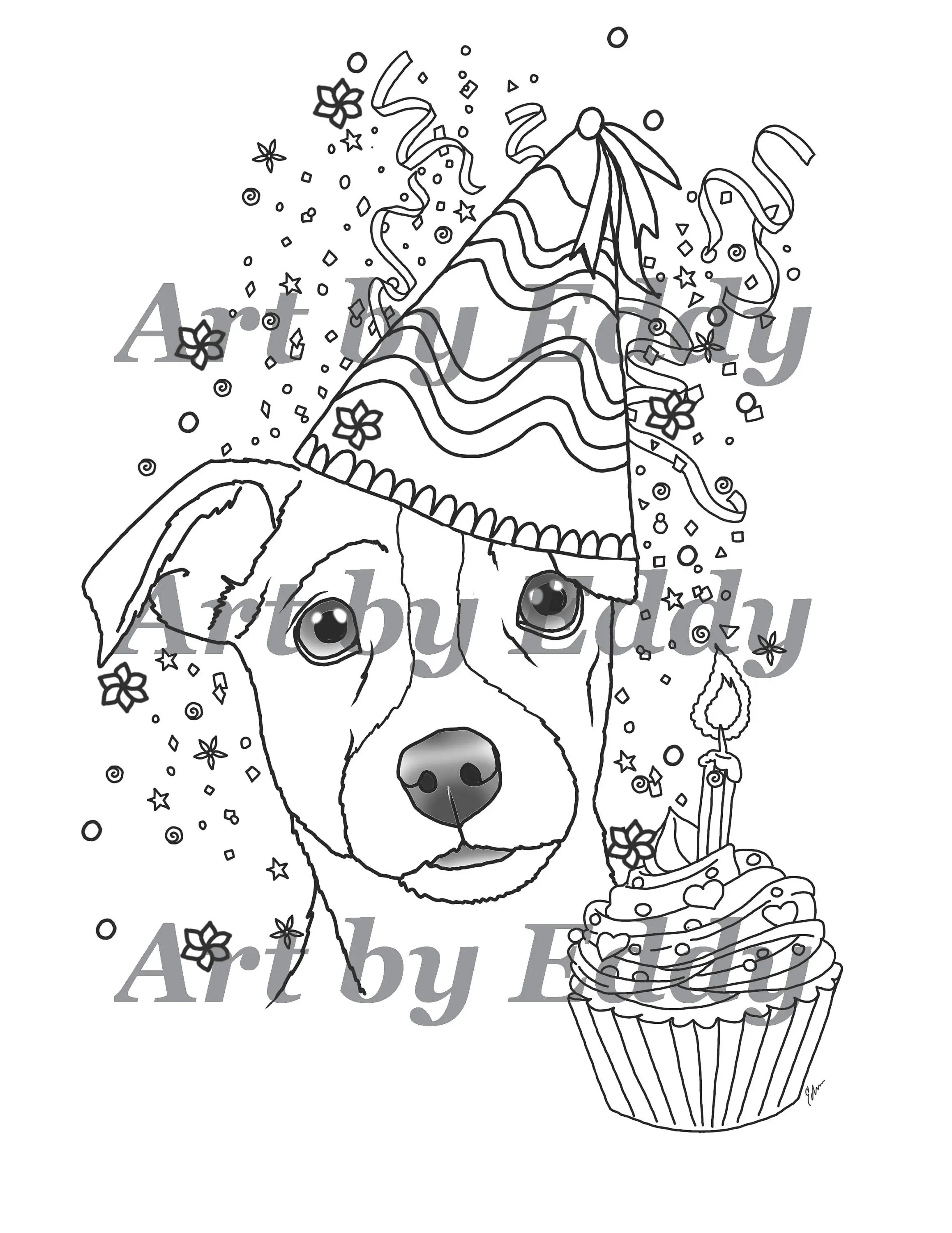 Art Of Jack Russell Terrier Single Coloring Page