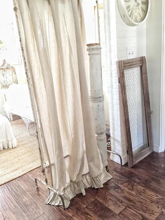 oatmeal sofa cb2 slipcover ruffled linen curtain panels curtains farmhouse